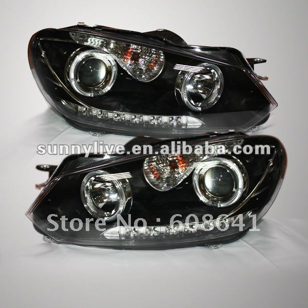 VW Golf 6 LED Farlar için Angel Eyes Ile 2010-2012 (Sol ve Sağ) V3 Tipi