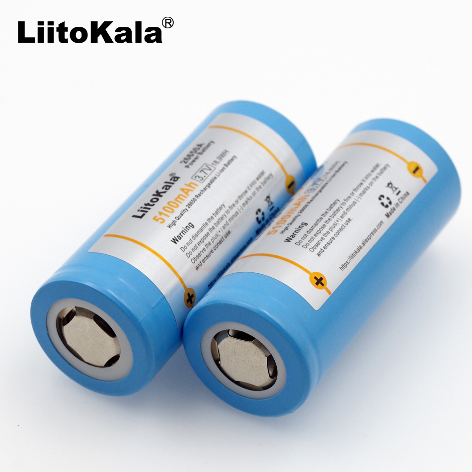 4PCS LiitoKala 26650-55A 5000mAh 26650 Li-ion 3.7v Rechargeable Battery for Flashlight 20A 3.6V Power batteries