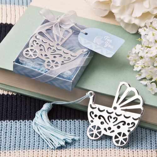 FREE SHIPPING(18pcs/Lot)+Silver Metal Baby Crib Design Bookmark with Blue Tassel Baby Boy Shower Favors Birthday Party Souvenir