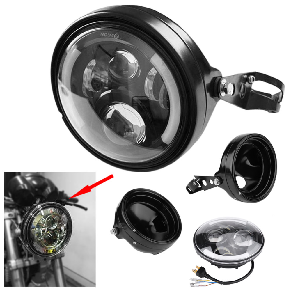 7 Inch Refit Round Motorcycle H4 Headlight Headlamp with Lamp Housing and Headlight Brackets led headlight for FXWG FXST models
